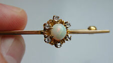 Stunning Antique Edwardian 9ct Gold Opal & Rose-cut Diamond Brooch c1910
