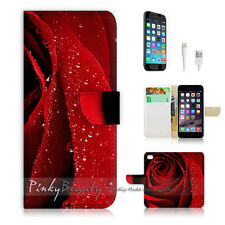 "iPhone 6 (4.7"") Print Flip Wallet Case Cover! Beautiful Red Rose Flower P0266"