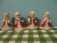 Set of 4 Vintage Lefton Christmas Angel Bell Porcelain Figurines