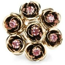 BETSEY JOHNSON Pink Crystal Rose Flower Cluster Bouquet Gold-Tone Stretch Ring