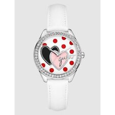 GUESS SILVER TONE,PINK LEATHER BAND,CRYSTAL,RED POLK DOT,HEART,WATCH-U75046L1