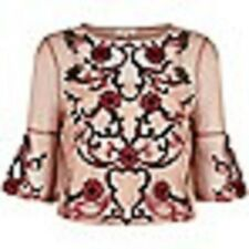 Beautiful Light pink floral embroidered top by RIVER ISLAND SIZE 12 RRP-£38