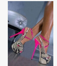 16CM Womens Peep Toe Snake Floral Super High Heel Stilettos Platform Shoes G06
