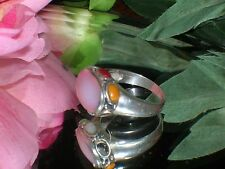 Vintage Sterling Silver Pink Mother of Pearl Ring ~ size 6.5