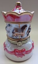wunderschönes Pferde - Karussell aus Porzellan mit Spieluhr + Miniatur Karussell