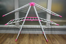 2 Tier Pink Clothes Horse Cloth Aluminium Drying Rack Airer Indoor Outdoor 50m