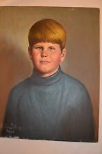 VINTAGE CHILD WITH CREEPY EYES ON CANVAS SIGNED CHESTER BLOOM  LIFE LIKE CREEPY