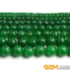 """Faceted Round Green Jade Beads Jewelry Making Loose Gemstone beads strand 15"""""""