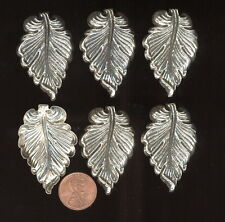 6 Vintage Antique Silver Plated Miriam Haskell LEAVES~Drill Hole For Charm 44mm