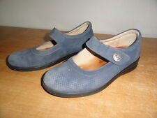 Ladies Blue Leather FINN COMFORT Velcro Buckle Mary Jane Casual Shoes USA Sz-6