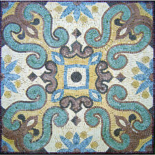 "24""x 24"" Handmade Geometric Mosaic Art Tile Marble Floor Wall or Table top Decor"