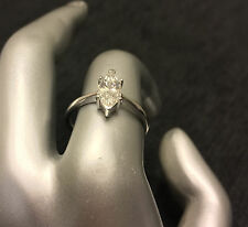 1 CT Marquise-cut Diamond Solitaire ENGAGEMENT RING 18K WHITE GOLD ENHANCED 4.5