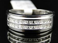 Mens 10K White Gold Round Cut White Diamond 2 Row Engagement Wedding Band Ring