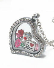 "ORIGAMI-STYLE MOM I Love Mom  Floating Charm Heart Locket 23 ""  Necklace"