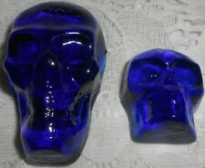 2X Blue Vaseline glass Gothic skull head uranium Halloween skeleton goblin ghost