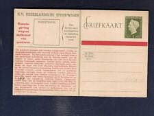 19 Netherlands Railway Postal Stationery Card from collection 1949  Hartz