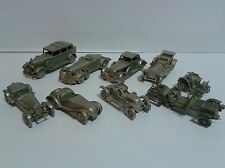 Collector's set of 9 pewter Danbury Mint vintage models cars