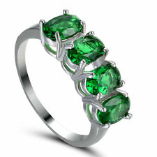 Ring Size 6.5 Green Emerald CZ Women's 10Kt White Gold Filled Engagement gift