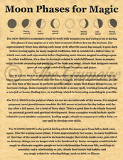 Moon Phases for Magic Book of Shadows Page, Real Witchcraft, Wiccan, Pagan