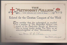 Methodist Million 1943 Certificate Enlisted for Christian Conquest of the World