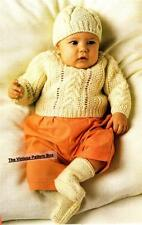 BABY ARAN SET / jumper,hat & bootees - 8ply or D.K.- COPY baby knitting pattern