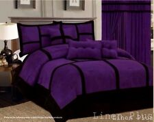 7 Piece Patchwork Purple Black Micro Suede Comforter Set Queen Size @ Linen Plus