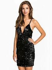 NLY One Women's Black Sequin Deep V Neck Evening Prom Party Dress M UK10 BNWT
