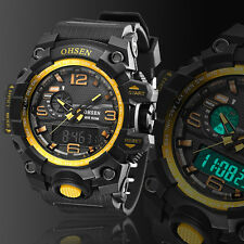 OHSEN Men's LED Date Rubber Military 50M Water Resist Sport Wrist Watch Yellow
