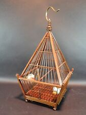Hand Made Asian wood Bird Cage With Porcelain Feeders