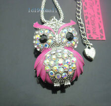 B556F?   Betsey Johnson Crystal Pink AB  Enamel Cute Owl Pendant Long Necklace