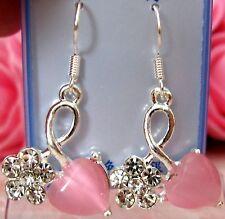 Ladies/Girls Crystal Flowers & Pink Heart Rhinestone Earrings new