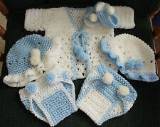 Hand Crochet Baby Outfit-Blue 6 Pc - Sweater, 2 Diaper cover, 2 Bonnet, Sandals
