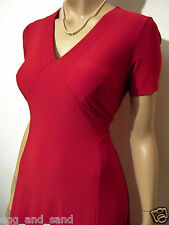 Size UK 14 vintage 40s WW2 style red stretchy Xmas party dress, back ties
