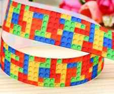 "1M 22mm 7/8"" BUILDING BLOCK GROSGRAIN RIBBON 99p BOYS BIRTHDAY CAKE PARTY"