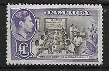 JAMAICA SG133a 1949 £1 CHOCLATE & VIOLET MTD MINT