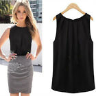 L Cool Black Women Summer Loose Sleeveless Casual Tank T-Shirt Blouse Tops Vest