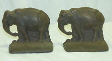Old Antique Cast Iron Elephant Bookends #176 Bronze Patina Nice Detail