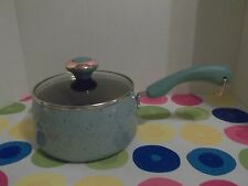 "PAULA DEEN 2 QT COVERED SAUCE PAN~ ""AQUA"" SPECKLE~NON-STICK~NEW"