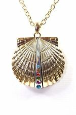 D32 Gold With Multi Color Crystal Sea Shell Pendant Necklace Set