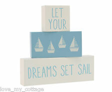 Wooden Shabby Chic Nautical Seaside Sailing Boat Themed Home Decor Sign Plaque