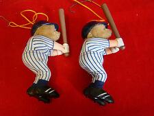 Set of 2 Vintage New York Yankees Bear Christmas Tree Ornaments 431511