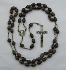 "† SCARCE NUN'S EARLY c1800s ANTIQUE HAND CARVED WOOD ROSARY 34"" AROUND NECK †"