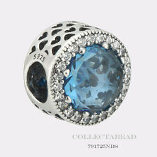 Authentic Pandora Sterling Silver Radiant Hearts Sky Blue Crystal Bead 791725NBS