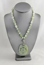 CHINESE EXPORT CARVED JADE JADEITE BIRD MEDALLION & BEAD NECKLACE SILVER CLASP