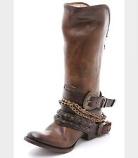 Freebird Knox Distressed Brown Leather Chains Buckles Tall Boots Women's 9