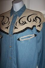 River Gold Unisex Size Small Western Vintage Apparel Shirt Blue Beige Black New