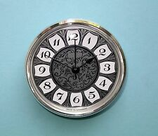 MEGA-QUARTZ 85mm bezel quartz clock insert with retro silver arabic dial