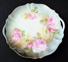 "Antique RS PRUSSIA Germany Bone China Pink ROSES 9""d Handled Cake Plate"