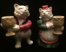 Vintage FITZ & FLOYD Cat CANDLE HOLDER 1988 KITTENS OF KNIGHTSBRIDGE