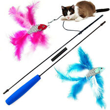 Cat Kitten Interactive Fish Feather Teaser Exerciser Toy Dangler Rod Wand Pet Ac
